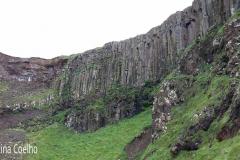 Formações rochosas nas falésias envolventes de Causeway identicas ás encontradas na Rocha dos Bordões na Ilha das Flores - Açores